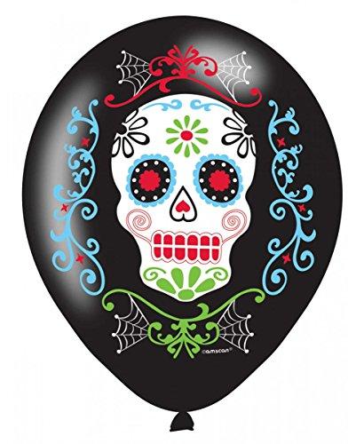 Partydeko Luftballons Totenschädel 6 St. | im Sugar Skull - Sugar Skull Halloween-look
