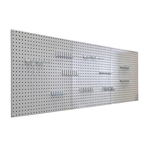 Seville Classics UHD20224 Werkzeug Lochwand mit 46 Haken, Metall pulverbeschichtet, 3-teilig, 182,9 x 60,9 cm, grau - 7