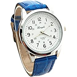 male Wrist Watch - Gerryda male Fashion digital Leather belt quartz Wrist Watch Blue