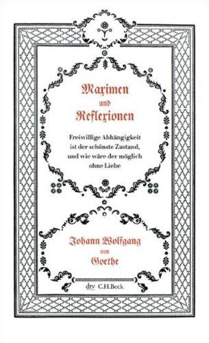 Buchseite und Rezensionen zu 'Maximen und Reflexionen (dtv Fortsetzungsnummer 31)' von Johann Wolfgang von Goethe