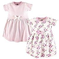 فساتين من القطن العضوي للفتيات (اطفال بعمر الرضاعة، اطفال صغار، لعمر الشباب) Cherry Blossom Short Sleeve 2 Pack 5T