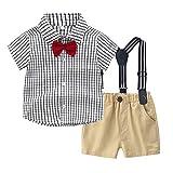 EUCoo_ Kinder (3 Monate - 3 Jahre alt) Kinderanzug Jungen Sommer Kurzarm Kariertes Hemd + Trägeranzug Set + Fliege Gentleman 3-teiliges Set(110)