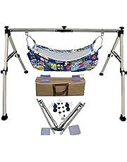 INDISWAN Stainless Steel Indian Style Ghodiyu Born Baby Sleep Swing Cradle with Hammock