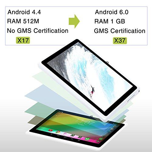 iRULU eXpro 3 Tablet (X3),Google Android 6.0,Quad Core,HD 1024x600,Dual Kamera WiFi 8GB 3D Spiel unterstützt,7 Zoll Tablet mit GMS Certified (Weiß 8GB)