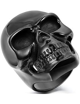 JewelryWe Schmuck Biker Herren-Ring, Edelstahl, Gotik Große Schwer Totenkopf Schädel, Schwarz