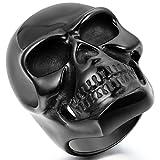 JewelryWe Schmuck Biker Herren-Ring, Edelstahl, Gotik Große Schwer Totenkopf Schädel, Schwarz - Größe 76