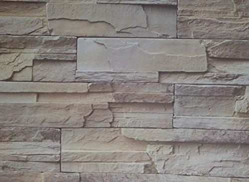 Einfach abziehen und aufkleben Faux Stein Stein Tapete Kontakt Papier Wasserdicht Abnehmbare Wand Decor Aufkleber, 61cm von 1.000cm Brown/Yellow -