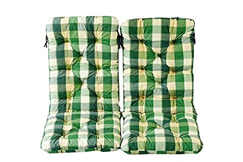 Ambientehome 120 x 50 x 8 cm HANKO MAXI Garden Chair Cotton Padded High Back Cushion - Checked Green