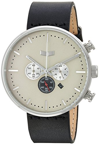 Vestal Men's Roosevelt Chrono' Quartz Stainless Steel and Leather Dress Watch, (Model: RSTCL06) One Size Black