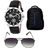 Timer Combo Of Laptop Bag And Chronograph Black Dial Watch With Sunglass For Men & Boys