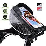 HAODELE Borsa Telaio Bici Impermeabile Porta Cellulare Bici Supporto Borsa da Manubrio per Biciclette 6 inch Smartphone Touch Screen per MTB Anteriore