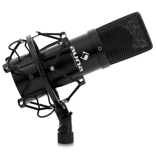 auna MIC-900B micrófono de condensador USB (compatible Plug&Play, cardioide, amortiguador y adaptador rosca 3/8