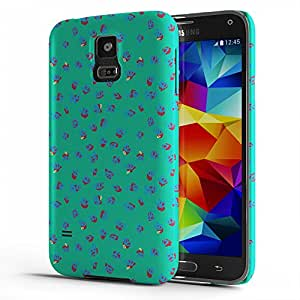 Koveru Designer Printed Protective Snap-On Durable Plastic Back Shell Case Cover for Samsung Galaxy S5 - Blue Green Ethy