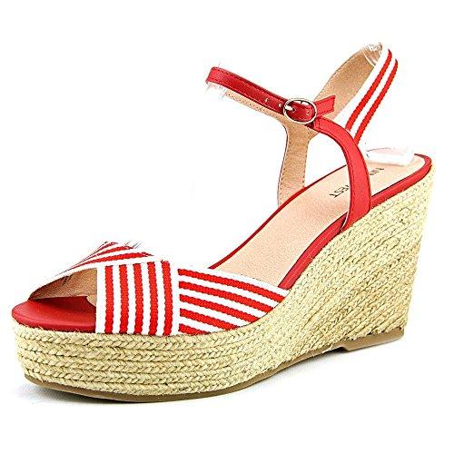 Nine West Breeze Damen Stoff Keilabsätze Sandale Red/Wht