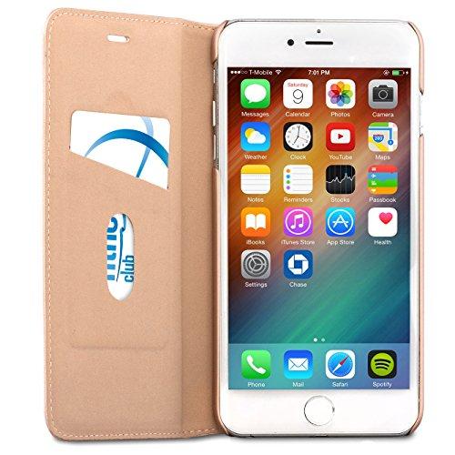 "iPhone 6 / 6s Flip Case Rose Gold - CASEZA ""Oslo"" Ultra Schlanke PU Leder Hülle Ledertasche Lederhülle für das Original Apple iPhone 6/6s (4.7 Zoll) - Edles Kunstleder Cover mit Magnetverschluss Rose Gold iPhone 6/6s Plus"