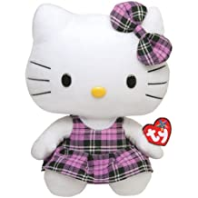 Hello Kitty Peluche vestido de cuadros, 28 cm, color lila (TY 90113TY)