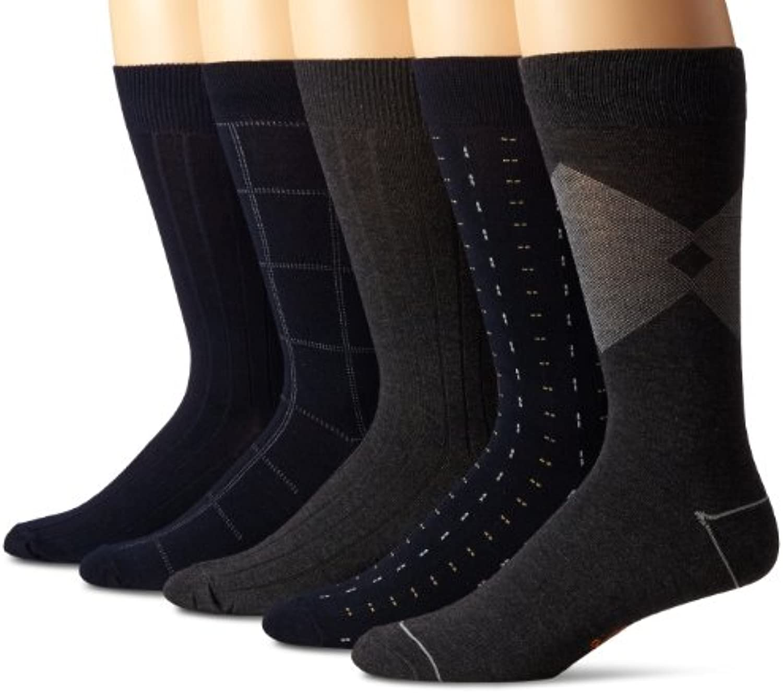 Dockers Men's 5 Pack Classics Dress Flat Knit Crew Socks
