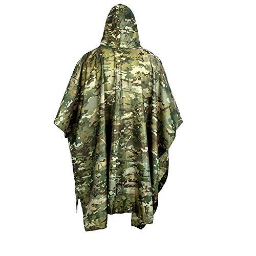 TOL MY Tactical Raincoat Im Freien, kostenlos Soldier Multifunktions Ghost Raincoat Jungle Marching Mehrzweck-Poncho-Matte Mehrzweck Umweltfreundlicher Fellmantel Ghost Leder