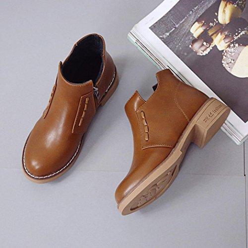 Stivali Donna Invernali, Beauty Top Nuovo Autunno Inverno Heels Stivali Boots Cavaliere Martin Stivali Marrone