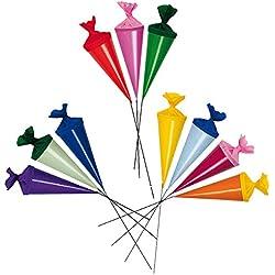 10 Stk. Schultüte 5 cm + mit Stiel - rund - Geschenktüte klein Dekoration / Zuckertüte Deko - für Schulanfang Dekotüten Tischdeko Tischdekoration Blumenstrauß Strauß