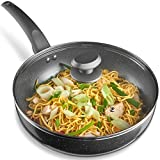 VonShef 28cm Marble Wok Aluminium Induction Safe/Soft Touch Handle - Grey, Non-Stick