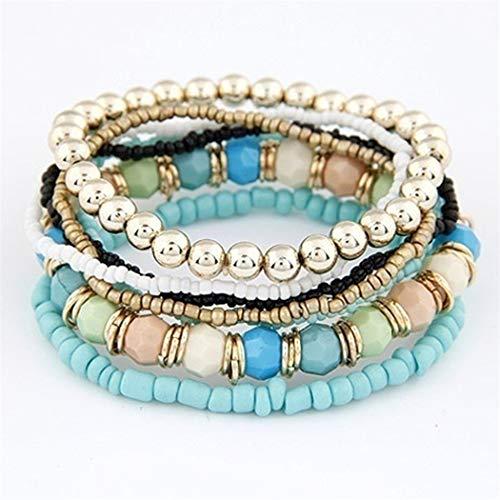 Eleusine Böhmische Farbe Elastische Perlen Multi Layer Armband Weiblich (Grün) (Store Schmuck Supply)