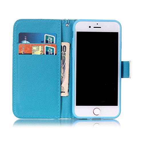 CaseHome iPhone 7 4.7'' PU Leder Hülle Mode der eleganten Fall Schön Geprägte Muster Gedruckt Entwurf (Mit freiem HD Schirm-Schutz) Tadellos gepasst für iPhone 7 4.7'' PU Leder Hülle Magnetischer Flip Niedliche Eule