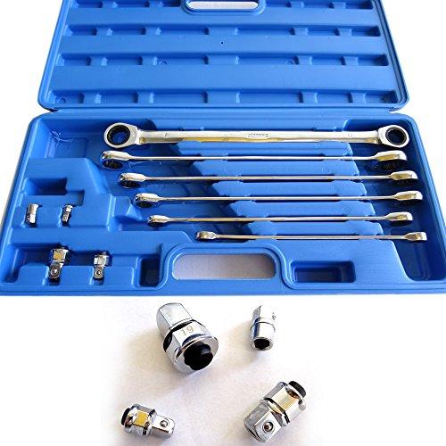 Preisvergleich Produktbild Ring-Ratschenschlüssel EXTRA LANG Ratschenschlüssel Set Chrom-Vanadium-Stahl in Profi-Qualität