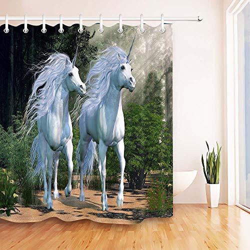 YS753 Zwei Buck weiße Einhörner Laufen durch einen magischen Wald Dusche Vorhang Badezimmer wasserdichtStoff für Badewanne Dekor 180x180cm-72x72inch -
