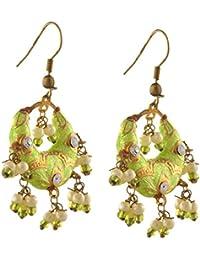 Zephyrr Jewellery Hanging Hook Earrings With Meenakari