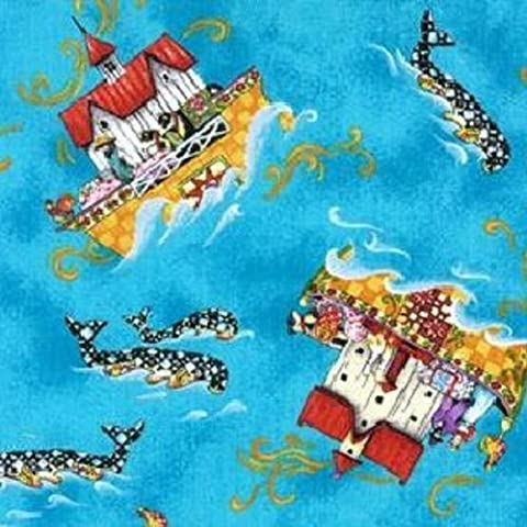 Fat Quarter Noah's Ark and Whale Turquoise Cotton Quilting Fabric 50 x 55cm