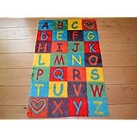 Rugs Supermarket Alphabet ABC Non Slip Machine Washable Sheepskin Style Kids Rug. Size 70cm x 108cm
