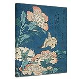 Bilderdepot24 Art Print Vieux maîtres - Katsushika Hokusai - Pivoines et Canaries 30x40 cm - Images sur Toile Toile déco imprimée Tableau Toile Photo sur Toile