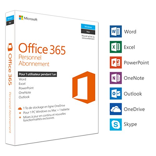 MS Office 365 Personal Mac/Win Subscription P2 EuroZone Medialess 1Year French - Office 365-microsoft Personal