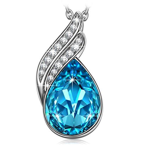 ANGEL NINA 925 Sterling Silber mit Swarovski Blau Träne Kristall Allergenfrei Anhänger Halskette Kette Geburtstagsgeschenk Sie Frauen Geschenke Mutter Mama Damen Schmuck