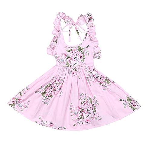 BOBORA Robe Filles Fleur Imprimer Dos nu Robe Princesse Retro Rose Bleu 12M-10Ans