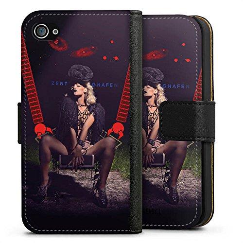 Apple iPhone X Silikon Hülle Case Schutzhülle Frau Roboter Hut Sideflip Tasche schwarz