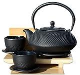 Juego de té Gifts Of The Orient, incluye tazas de té, salvamanteles y tetera de 1,1 L, hierro fundido, estilo japonés, color negro