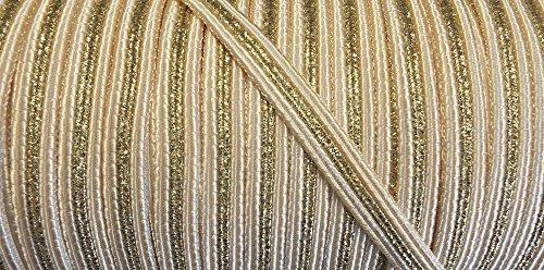 2 m Posamentenborte beige mit goldenem Lurexfaden 10 mm