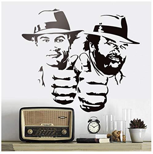 Bud Spencer Und Terence Hill Wandaufkleber Lächerlich Lustig Charakter Porträt Vinyl Aufkleber Klassische Film Abbildung Murals65x57cm