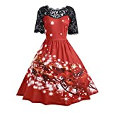 KPILP Party Kleid Damen Spitze Weihnachten A-Linie Cocktailkleider Vintage Porm Weihnachten Swing Petticoat(Rot,EU-40/CN-L