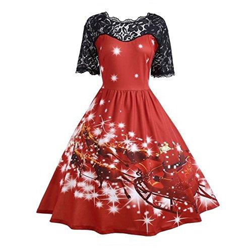 MORCHAN  Cadeaux de noël Femmes Fête de Noël Robe de Noël Mesdames Vintage Robe en Dentelle Balancez(S,Rouge)