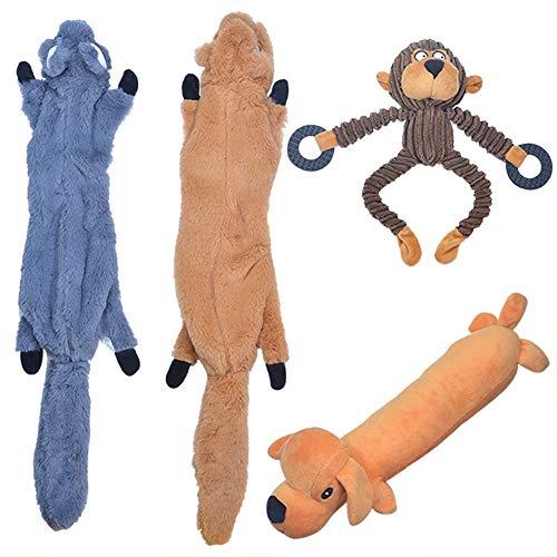 GaiusiKaisa Quietschende Hundespielzeuge - 2 No Stuffing-Hundespielzeuge und 2 Lovely Plush Hundespielzeug - dauerhaft kauen Hundespielzeuge - für kleine, mittlere bis große Welpen und Hunde -