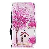 Cozy Hut iPhone SE 5 5S 5G Hülle [3D Design] [Premium Leder] mit TPU-Kunststoff [Magnetverschluss] [Kartenfächern] [Standfunktion] Schutzhülle für iPhone SE 5 5S 5G - Rosa Kirschbaum