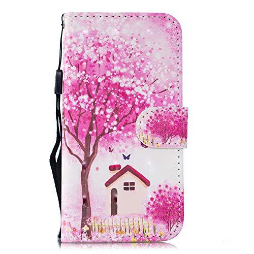 Yobby Brieftasche Hülle für Huawei P20 Lite, Handyhülle Magnetverschluss 3D Muster Slim PU Leder Flipcase Kartenfach Handschlaufe Stand Schutzhülle-Rosa Baum