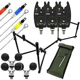 DNA NGT Kit de pods XPR pour pêche à la Carpe + 3 détecteurs de Touche VX1 + indicateurs et Repose-Billes pour Les pêcheurs – Un Excellent Cadeau