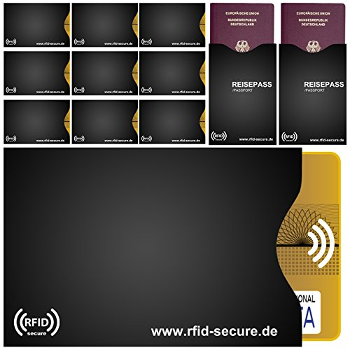 RFID and NFC Protection Sleeve (10/Set of 2) for Card, Credit Card, Passport, Personla Healthy ID Badge etc. 100% Solid Usweis Protection with Block Out and NFC RFID Chips - RFID Secure