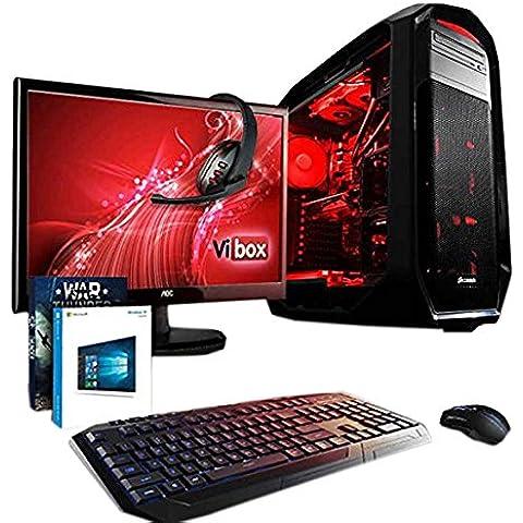 VIBOX Aries Paquete 6 - Ordenador de sobremesa (Intel Core i7-4790K, 32 GB de RAM, Disco hibrido de 3 TB + disco solido de 240 GB, NVIDIA GeForce GTX 980 Ti de 6 GB, Windows 10) negro y rojo - Paquete con Monitor AOC de 21.5