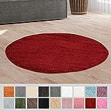 Taracarpet Hochflor Langflor Shaggy Teppich geeignet für Wohnzimmer Kinderzimmer und Schlafzimmer flauschig und pflegeleicht rot 120x120 cm rund