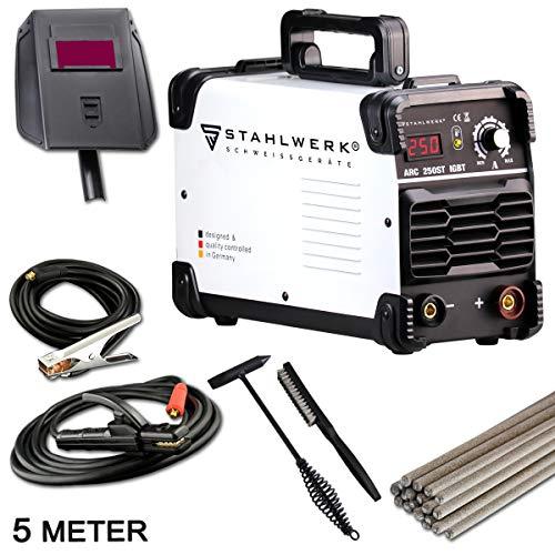 STAHLWERK ARC 250 ST IGBT - Schweißgerät DC MMA/E-Hand Welder mit echten 250 Ampere sehr kompakt, 230V, weiß, 5 Jahre Herstellergarantie